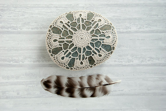 (via crochet lace stone // beige art object // dark by TableTopJewels)