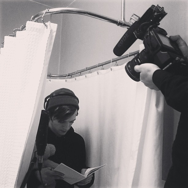 DLBD recording vocals in a bathtub.