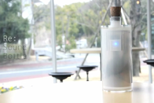 thisistheverge:  'Sound Bottle' captures audio, automates the remix Re: Sound Bottle is a music creation device like no other. Designed by a student at Japan's Tama Art University, it's a bottle-shaped device that captures and plays back sounds. Operation seems startlingly simple: to record a sound, you simply uncork the bottle and, so long as noise is detected, it'll record and store the sounds as a sample.