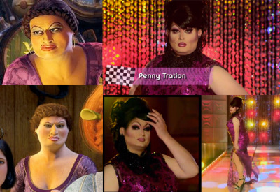 Penny Tration on RuPaul's Drag Race last night looked like Doris from Shrek the Third.