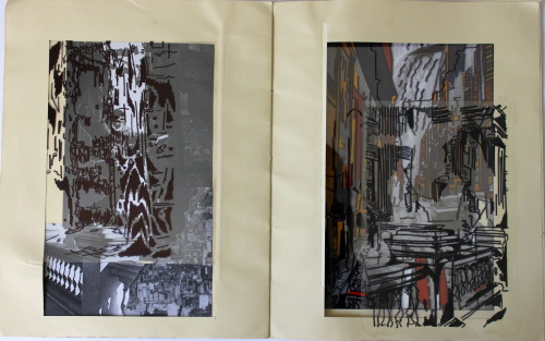 Book of Cities part 2 - using pen, paint, acetate, collage.
