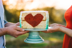 Super cute: Heart Cake! | via Garlic My Soul