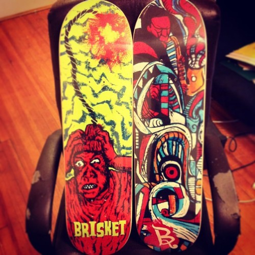 They have arrived! @brisketskateboards #skate#original#art#blackflag#coultrane#nyc#brooklyn#queens #finally