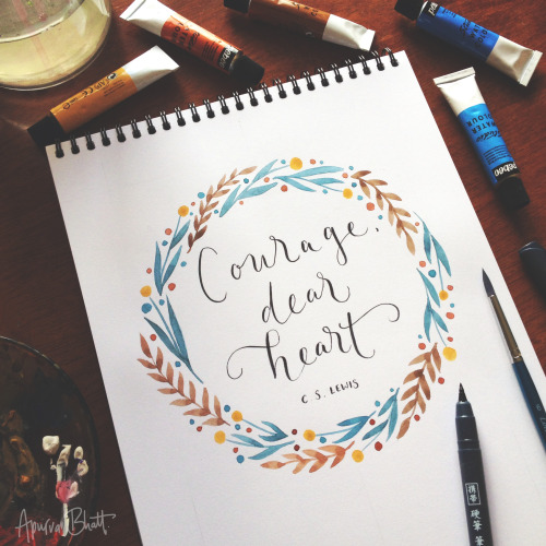 quotes movies Typography The Chronicles of Narnia lucy pevensie flowers books type floral C.S. Lewis narnia book quotes lettering watercolour hand lettering the voyage of the dawn treader Aslan wreath brush pen brush lettering letter it pocket brush pen