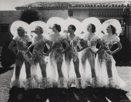 vintageho:  Six of the Busby Berkeley babes from Gold Diggers parade outside Warner Brothers Studio, Hollywood, May 1933