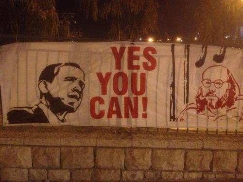 Signs going up across Jerusalem ahead of Obama's arrival in Israel urging for the pardon of Jonathan Pollard.