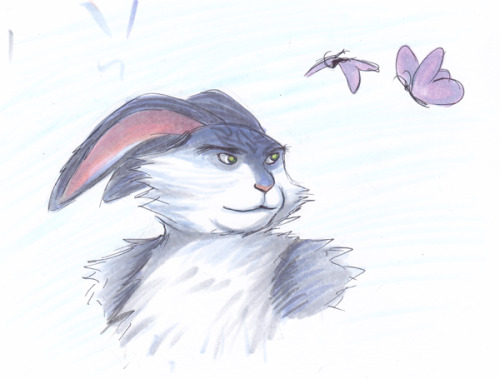 poketoskechi:  Here's a quick Bunnymund I doodled in between schoolwork.  Happy Easter! prismacolor and copic markers
