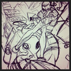 Roughs for a nfl street tribute piece.