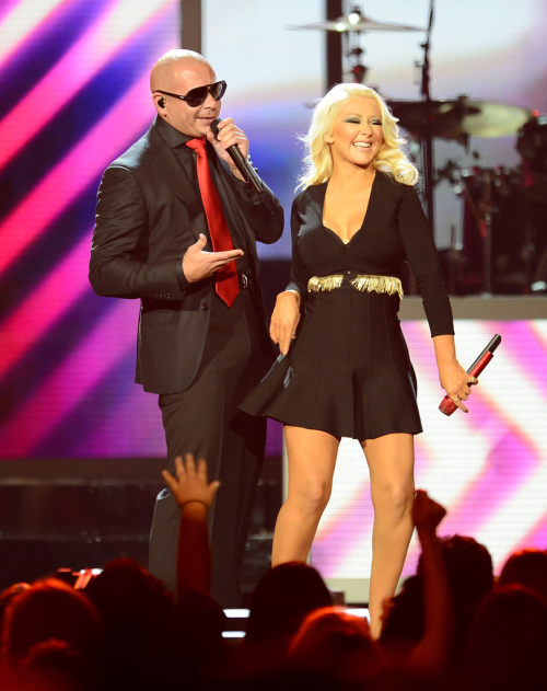 Christina Aguilera and Pitbull performing at The 2013 Billboard Music Awards.