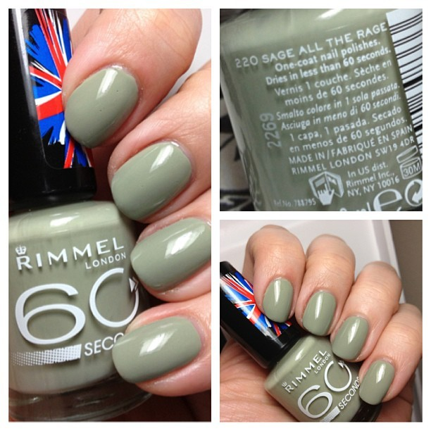 Tonight's NOTD:  Rimmel Sage All the Rage - love when cheap polish has great formula!  Plus the brush reminds me of Dior! #nails #nailpolish #notd #nailsoftheday #nailsofinstagram #rimmel