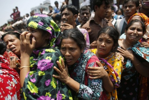 "humanrightswatch:    Bangladesh: Time for global brands to say they will take no clothes from companies that do not meet basic standards Tragedy Shows Urgency of Worker Protections The collapse of an eight-story factory building near Dhaka shows the urgent need to improve Bangladesh's protections for worker health and safety. Reforms should include a drastic overhaul of the government's system of labor inspections and an end to government efforts to thwart the right of workers to unionize. ""Given the long record of worker deaths in factories, this tragedy was sadly predictable,"" said Brad Adams, Asia director at Human Rights Watch. ""The government, local factory owners, and the international garment industry pay workers among the world's lowest wages, but didn't have the decency to ensure safe conditions for the people who put clothes on the backs of people all over the world."" The Rana building collapse is the latest in a long list of factory building tragedies in Bangladesh, Human Rights Watch said. In April 2005, 73 garment workers died in a factory collapse in Savar. In February 2006, 18 workers were killed in a garment factory collapse in Dhaka. In June 2010, 25 people were killed in a building collapse in Dhaka. In November 2012, more than 100 workers died in a fire at a factory in Dhaka. Photo: Relatives cry for loved ones trapped in the collapsed Rana Plaza building outside Dhaka on April 24, 2013. (c) 2013 Reuters    Why is this still going on?! These factory tragedies and the horrific deaths keep piling up and still no justice is served!!"
