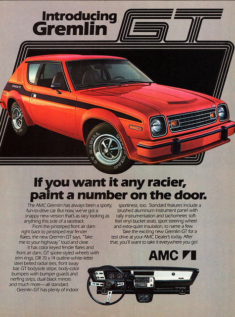 chromjuwelen:  1978 AMC Gremlin GT by aldenjewell on Flickr. 1978 AMC Gremlin GT  Gremlins Must be one of the earliest uses of ITC Eras I can think of.