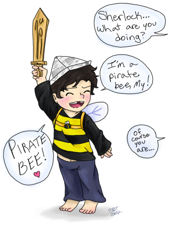 paper-heartbeat:  Kid!lock: Pirate Bee    Little Sherlock couldn't decide what to be for Halloween. A pirate captain or a busy honey bee? When it all came down to it, the decision was an obvious one.
