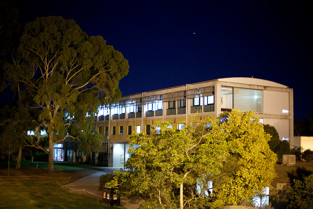 It's always a little strange being on a University campus at night. In the day, its teeming with people, and at night its eerily quiet.   University at night , May 2013.