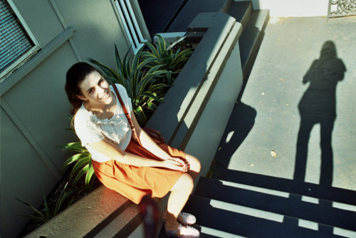 Brittany and my shadow, Red Hill - 2013 Pentax K1000 Pentax 28mm f/2.8