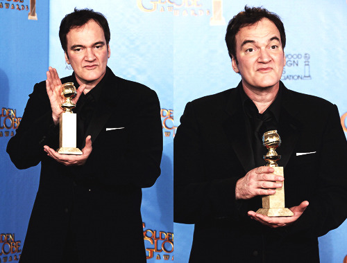 Quentin Tarantino poses in the press room at the 70th Annual Golden Globe Awards