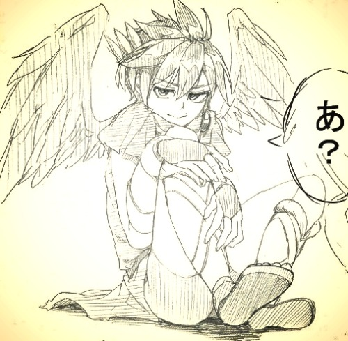 "remysanart:  Just a little sketch of Pit from the game, Kid Icarus: Uprising in Japan known as, ""Shin Hikari Shinwa: Palutena no Kagami""."
