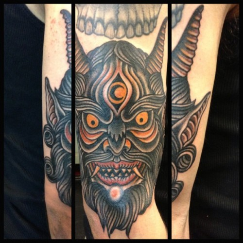 salvationtattoo:  By Joel #joel #traditional #demon #arm