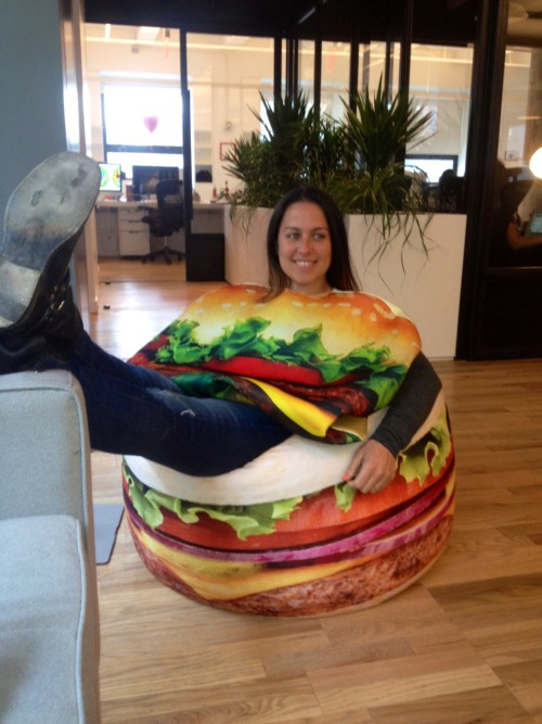 amandalynferri:  Tumblr HQ office rule #1 if you sit on the cheeseburger chair you must dress like a cheeseburger