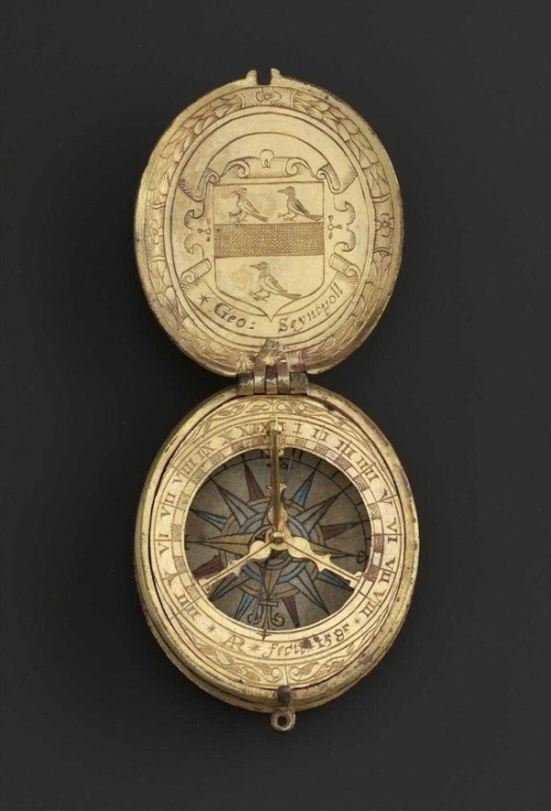 tawnyscostumesandcuriosities:  An Elizabethan gilded pocket sundial by Augustine Ryther. Dated 1585 Made for Sir George St Paul, a Lincolnshire squire.