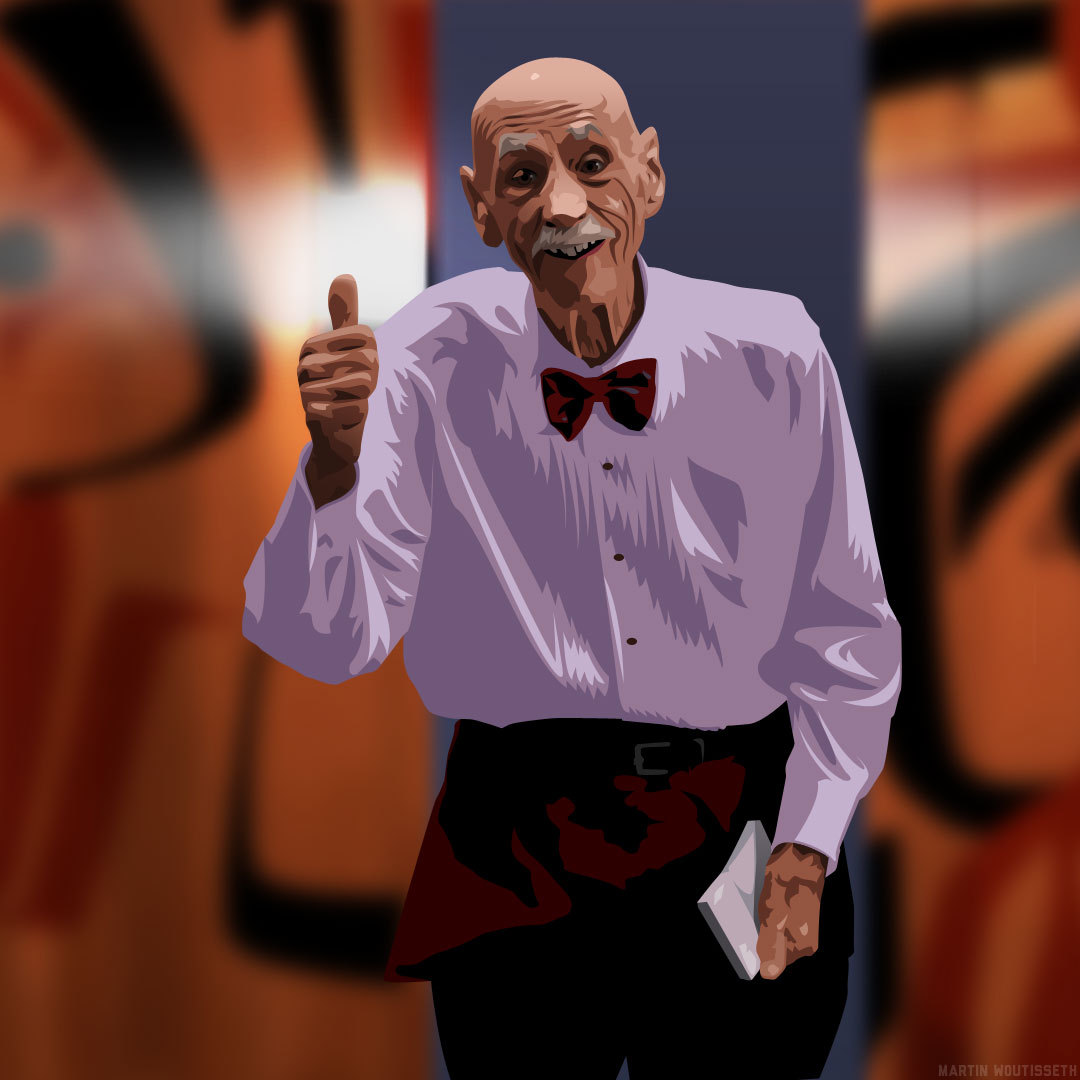 Twin peaks illustrated - Elderly room service waiter by Martin Woutisseth