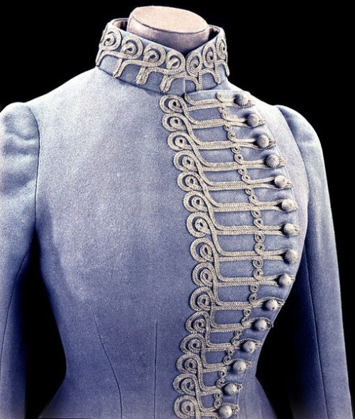 tawnyscostumesandcuriosities:  1885 Riding habit jacket Detail | John Redfern & Sons | V