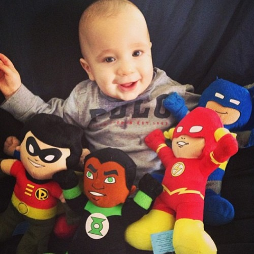 Carter and a few of his (Super) Friends… #robin #batman #greenlantern #theflash #picoftheday #followme #igdaily #igers #iphonesia #follow #dc #plush #plushie #comics #superheroes