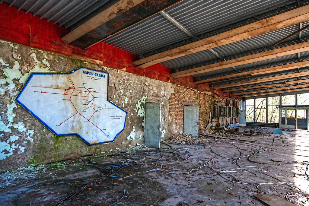 Historical Map: Abandoned Bus Station, Pripyat, Ukraine A harrowing image from the Ukrainian city of Pripyat, built in the 1970s to house workers for the ill-fated Chernobyl nuclear plant. Pripyat lies just a few scant kilometres from the plant, and was permanently evacuated within two days of the disaster in 1986.  Within the ruins of the city's bus station is this surprisingly intact map of services offered within the local region. Pripyat is the fourth station from the top along the right edge of the map, just above the horizontal line that runs through the map. The town of Chernobyl (which is further from the plant than Pripyat) is the next stop to the south along the red route line. (Source: Matt. Create. (Roads Less Traveled)/Flickr)