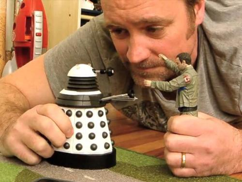 David Hewlett plays with himself and a Dalek.
