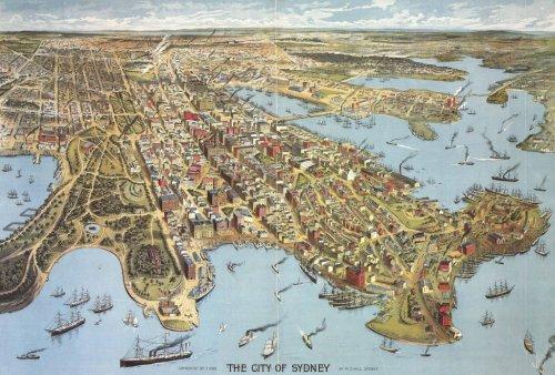 thelandofmaps:  Birdseye view of The City Of Sydney, 3rd Sep 1888. [7926 x 5358]CLICK HERE FOR MORE MAPS!thelandofmaps.tumblr.com