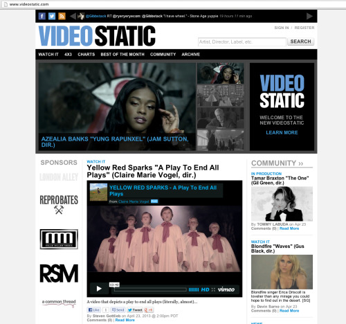 "New video ""A Play To End All Plays"" for Yellow Red Sparks on front page of Videostatic.com right now!"