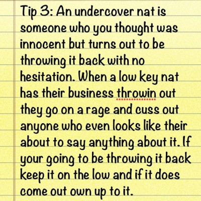 "Tip 3 ""under cover nat"""