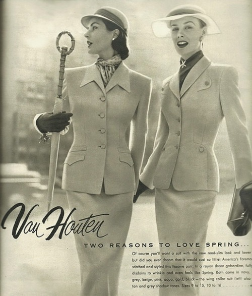 theniftyfifties:  Ladies suits by Van Houten, 1950.