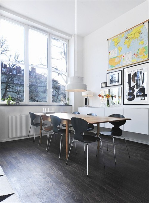 I Spy: Maps If you could have one thing from this dining room, what would it be? I don't know about you, but I've got my eye on the vintage map on the far back wall. It feels like a relic from my elementary school days, as worthy of nostalgia as overhead projectors, chalk erasers, and Bridge to Terabithia. Whether properly framed behind glass or simply nailed into the wall, old-school maps are a work of art in their own right. And for whatever decade you might have graduated elementary school, eBay has a plethora of vintage world map options to help you stroll down memory lane and decorate your apartment.  (Photo: Uncredited. Text by Jenny Bahn)
