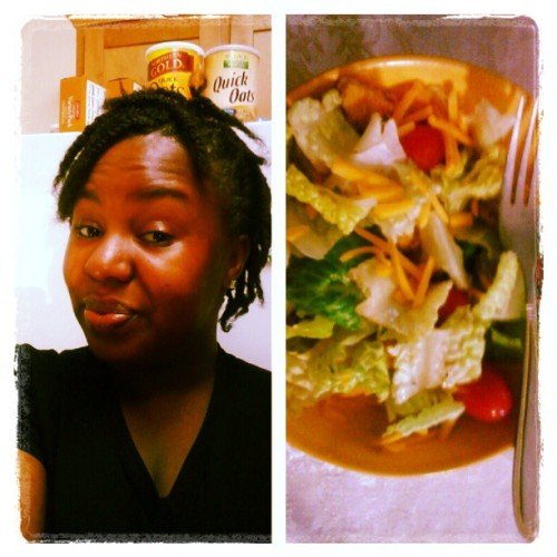 #lunch #salad #afterworkout #stepaerobics #naturalhair #twists #monday