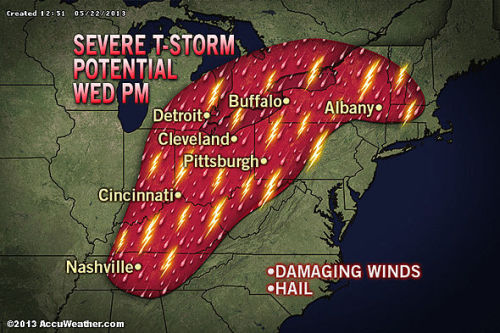 accuweather:   Severe Weather Targets Detroit, Cleveland, Albany Wednesday The storm system that ravaged Moore on Monday has moved into the Ohio Valley. One report has come in of a possible tornado in Sullivan County, N.Y. The threat will increase this afternoon as rising temperatures combine with the humid air.