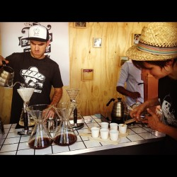 A flight of coffee served by proud Mary baristas at the popup coffee plantation for the Melbourne food & wine festival
