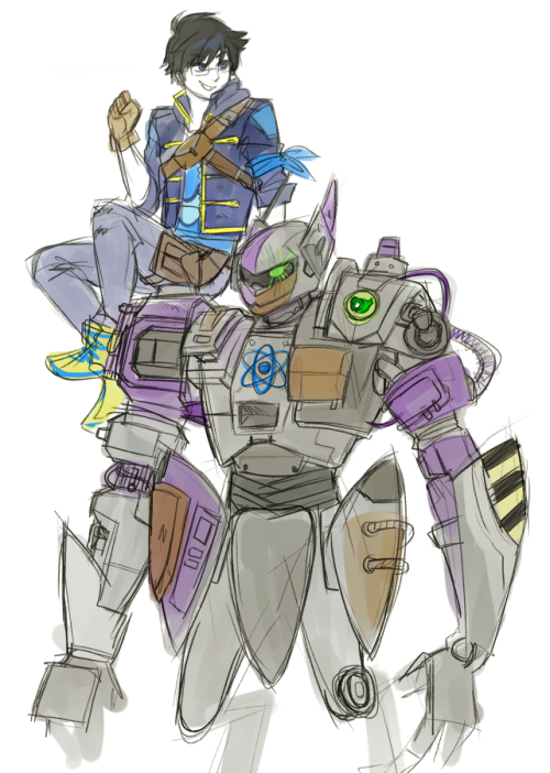 blackoutballad:  wip of borderlands john, who i decided to make a mechromancer because it means a robot salamander and/or bunny this au is gonna test my drawing comfort zone and i don't know whether to laugh or cry about it