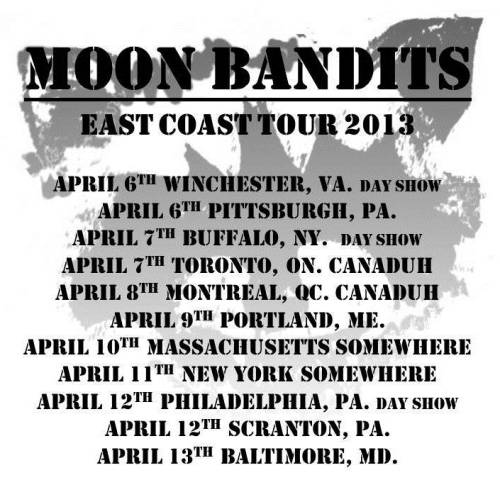 moonbandits:  EAST COAST. WE NEED YOUR HELP! We are planning on touring the north east in April and we really need help getting shows. This is a general idea of where we would like to play, if you can help us out that would be fantastic. We are looking for all age, DIY spaces (houses, warehouses, bookstores, record shops, etc). Please email us at moonbandits@gmail.com if you can help us out. And if you an't please reblog this for us. thanks http://moonbandits.bandcamp.com/ https://www.facebook.com/pages/Moon-Bandits/302971346424897