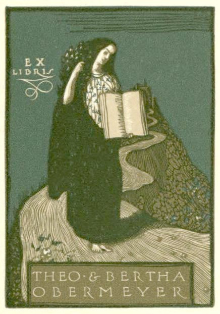 Bookplate of Theo & Bertha Obermeyer by CharmaineZoe on Flickr.