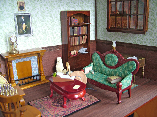 The parlor from Longbourn House, featured in the June issue of British Dolls House and Miniature Scene. Submitted by smallworldland.