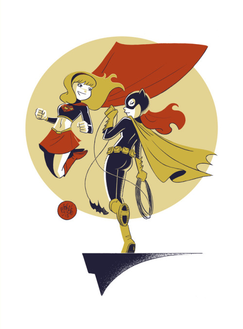 mikemaihack:   Batgirl & Supergirl commission (the first of many).