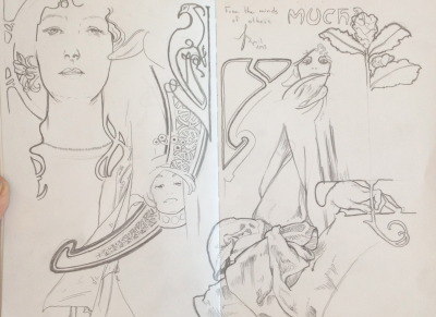 "shandisharrison:  Shandis Harrison ""From the Minds of Others: Mucha"" (2013) Pencil on paper"
