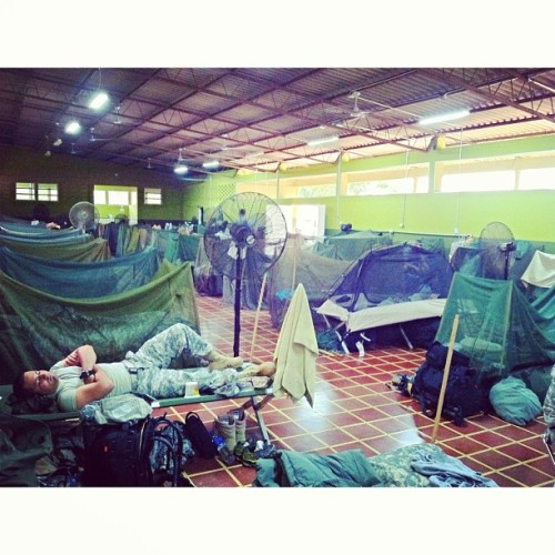 "El Salvador; Campó Milicia- ""Mosquito nets"" 60 soldiers from 4 countries in Joint Task Force; Bravo Team. 96 degrees and humidity of 86%. I sent my mother her flowers a day early."