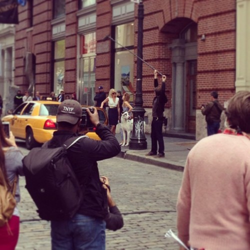 "That lady in the white would be Cameron Diaz filming for the movie called ""The Other Woman"" in Soho today. Interesting."