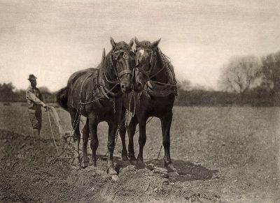 heaveninawildflower:  At Plough, The End of the Furrow. Scene of country life in East Anglia, England, 1887. Peter Henry Emerson (1856–1936). British Library via Wikimedia.
