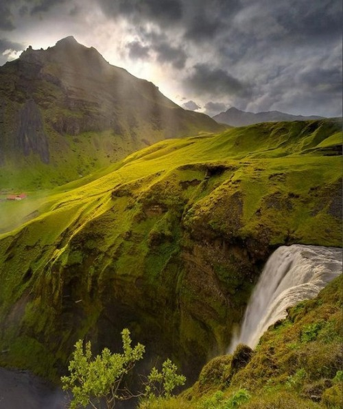 bluepueblo:  Spring Waterfall, Iceland photo via meghan  #nofilter (i'm guessing; Iceland is unbelievably pretty)