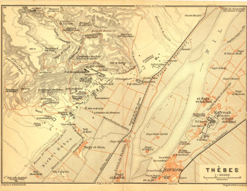Map of Thebes,  Luxor and Karnak, Egypt  Archeological Site 1914 at CarambasVintage http://etsy.me/135URcV