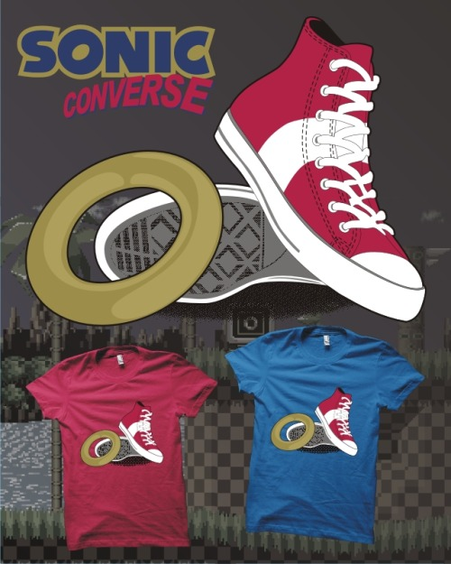 My Sonic Converse T-shirt design is a possible print over at Unamee's Facebook page but in order for it to be printed it needs likes, so click on the image above to like and share it!  …and why not comment on the photo as well to let me know which T-shirt you prefer it on, blue or red?