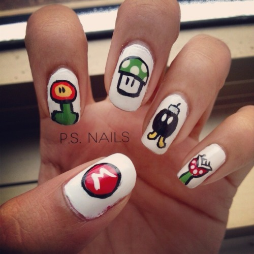 My most recent nails: Mario! I got a lot of compliments on these :D -S